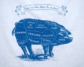French or Italian Pork butcher cuts design on 100 percent cotton high quality fLour sack dish cloth