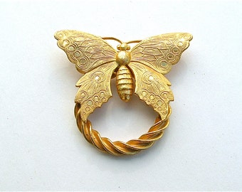 Singed Miriam Haskell Butterfly Brooch Vintage Designer Jewelry