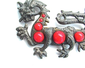 Dramatic Designer Vintage LITTLE NEMO Brooch Dragon Serpent Animal Red Costume Jewelry Unique