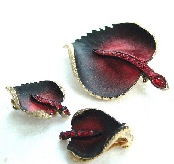 Vintage Rhinestone Jewelry Leaf Botanical Maroon Burgundy Wine Brooch Earrings, FREE US SHIPPING
