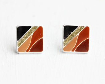 Geometric Square Studs, Enamel Studs, Brown Studs, Striped Studs