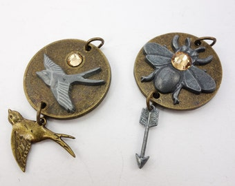 Bird and Bee Steampunk Pendants by 7 Gypsies, Nature Charms/Pendants