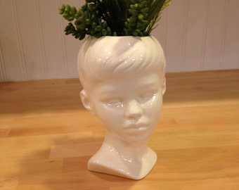 Modern Ceramic Head Planter with succulents