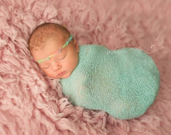 Rainbow Beaded Tieback Headband - newborn baby photo prop