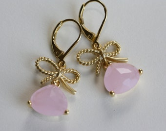 Pink Ice Gold Twisted Bow Earrings, Bridal Jewelry, Bridal Earrings, Flower Girl Gift, Wedding Jewelry, Summer Weddings, Pink Earrings