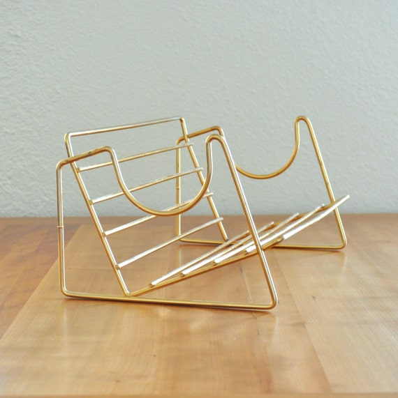 mid century brass tone rack for books, albums, CDs