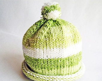 Baby Hat Fresh Lime Stripes Hand Knit Roll Brim Pom Pom, great for Photo Props