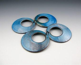 Enameled Domed  Hoops  /  Aqua Enamel  / Made to Order