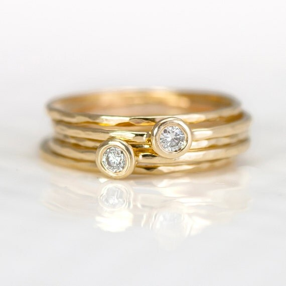 Diamond 14k Gold Stacking Rings // Set of Five Hammered Gold Stackable Ring in 14k Gold // White Diamond Stacking Rings by Melanie Casey