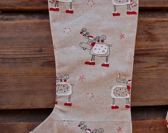 Christmas Stocking from organic Estonian linen,  Reindeer