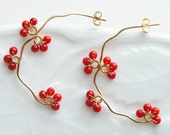 Red Coral Earrings, Gold Branch Earrings, Japanese Jewelry, Red Berry, Gold filled Hoop