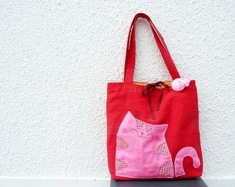 Summer Sale, Tote Bag, Cat Bag, Cat Tote Bag, Shoulder Bag, Canvas Bag, School Bag, Teens, Red, Cute - Cat Lovers Gift