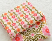 Shabby Chic Vintage Paisley Floral Circle Branches Little Sunflowers(Choose Pattern) - Cotton Fabric (1/2 Yard)
