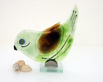 Green  Bird  Sculpture , Fused  Glass Art ,  Housewarming Gift