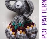 Amigurumi Sleepy Elephant Security Baby Blanket Lovey PDF Crochet Pattern Toy Gift