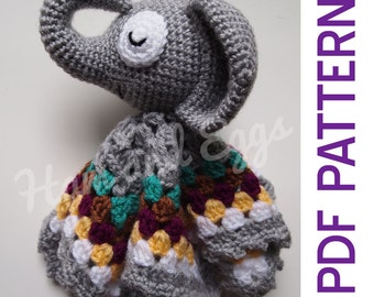Amigurumi Sleepy Elephant Security Baby Blanket Lovey PDF Crochet Pattern Toy Gift