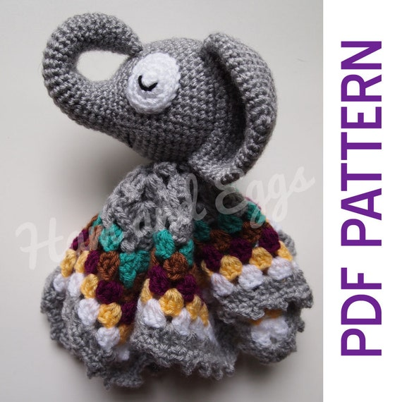 Crochet Elephant Blanket : Amigurumi Sleepy Elephant Security Baby Blanket Lovey PDF Crochet ...