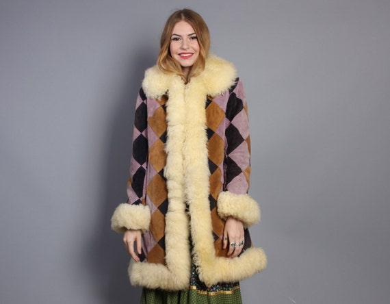 70s DIAMOND Suede COAT / Purple Patchwork & SHEARLING Fur Trim, xs-s