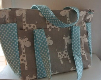 Giraffe and Aqua Dots Nappy Bag New Large Sizer XL Diaper Bag with Removable Stroller Straps
