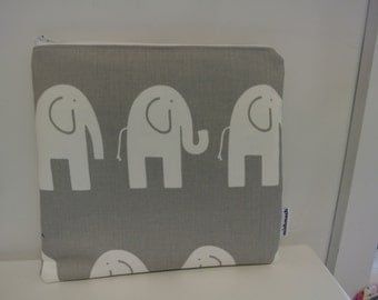Zippered Wet Bag with Waterproof Lining - Grey Elephants