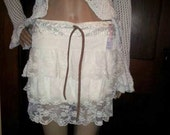 Handmade White Lace Ruffled Skirt Southwestern Style with Leather Belt all upcycled small-medium