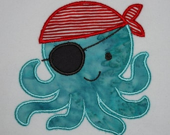 Octopirate onesie or toddler tee, custom embroidered, made to order