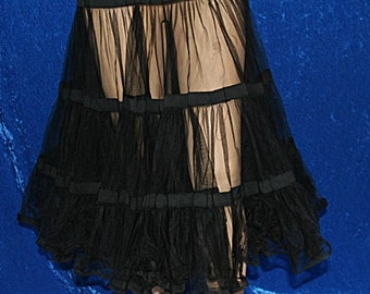 Vintage 50s 1950s Can Can Tulle Chiffon Ribbon Tiered Half Slip Skirt Crinoline
