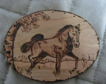 Wood Burnt Image of a Prancing Horse for Basket Making or Other Craft Projects