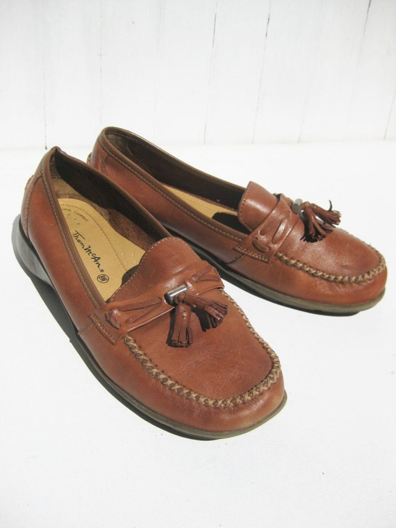 1980s Thom Mcan Brown Leather Loafers Penny Loafers Womens 8