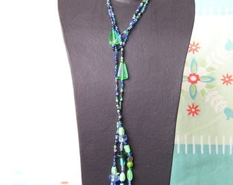 Blue and green dragonfly lariat necklace