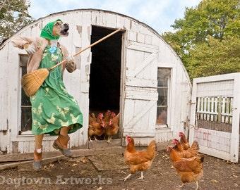 Henhouse Karaoke, large original photograph of boxer dog wearing dress singing karaoke to the chickens