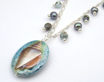 Seashell necklace and earring set, ocean colors, larimar blue green, 21 inches long, sterling silver