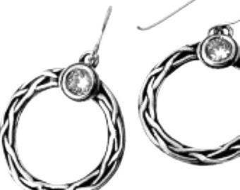 Dangle sterling silver earrings set with CZ zircons  Israeli jewelry