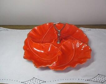 Vintage Serving Tray Platter Brilliant Red Orange Gold LEAVES Regency Calif Usa Pottery Mid Century