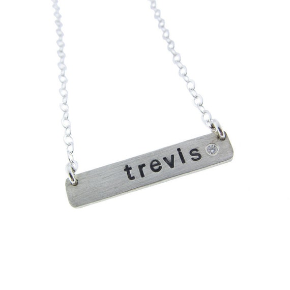 Silver Horizontal Diamond Name Plate Necklace Custom Sterling Name Jewelry Personalized Hand Stamped Engraved Artisan Handmade Fine Jewelry
