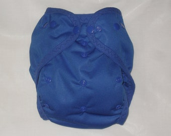 Blue one size AI2 snap diaper