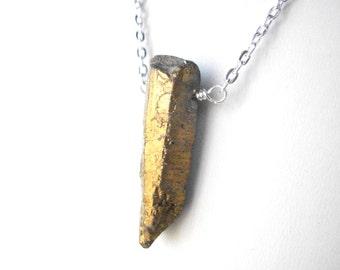 Raw gold quartz point necklace, crystal point necklace, rough quartz spike gemstone jewellery