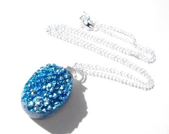 Blue druzy necklace, wire wrapped bright blue titanium druzy gemstone on silver chain