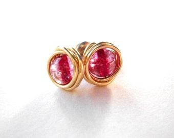 Pink quartz stud earrings, gold brass wire wrapped stud post earrings, deep pink tourmaline quartz gemstone earrings