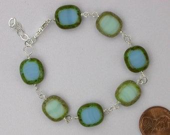 Aqua and Turquoise Glass Bracelet