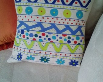 Hand painted pillow - bright colors - blue green - canvas - pillow insert