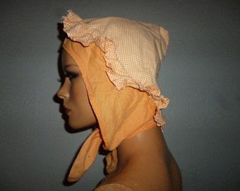 Antique  - Victorian  or Edwardian - Cotton - White - Tangerine Check - Ruffled - Stagecoach - Pioneer - Prairie - Sun - Farm  - Bonnet