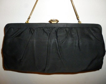 Vintage 1950's - Bobbie Jerome - Black - Silk - Evening  - Formal - Handbag - Convertible Clutch - with Gold Metal Accents