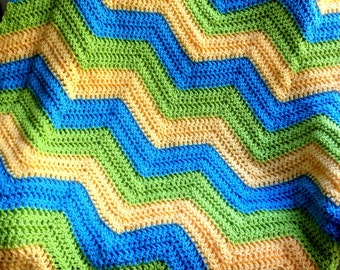 new chevron zig zag ripple baby blanket afghan wrap crochet knit wheelchair stripes VANNA WHITE yarn yellow green blue handmade in USA