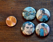 Set of 4 MAGNET OR PIN 1 inch button badges, handmade new with real vintage art - Comic Book Superman with gift card