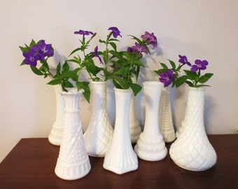 Vintage smaller Milk Glass Vases - Instant Collection wedding or bridal decor 12 pieces