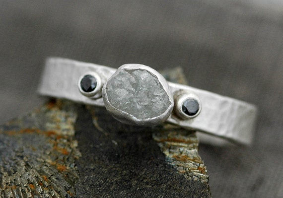Rough Diamond Ring in Hammered Sterling Silver with Black Cut Diamonds- Custom Made Band