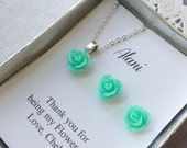 Flower girl gifts, small sized rose necklace, earrings, personalized notecards, free jewelry box.