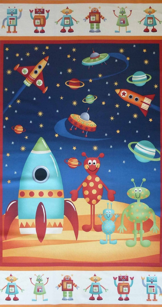 Space aliens 877 panel by andover fabrics from for 3d space fabric