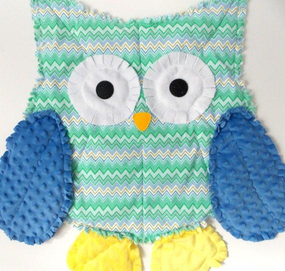 Rag Quilt Owl Pattern : Owl Rag Quilt Chevron Owl Decor Baby Shower Gift